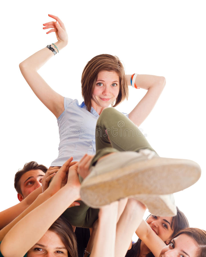 Cute Girl Held By Team royalty free stock photography