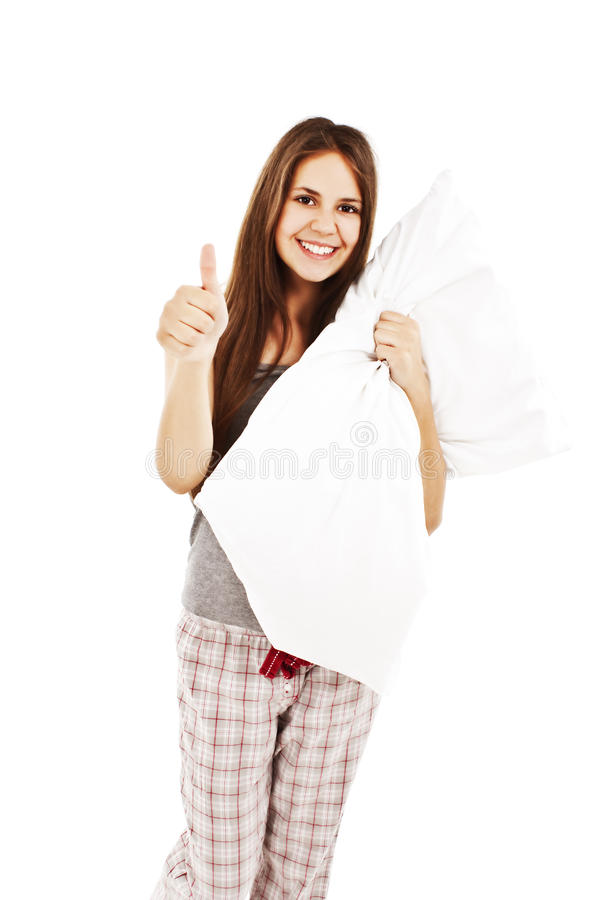 Download Cute Girl In Her Pajamas Holding A Pillow Stock Photo - Image: 20833618