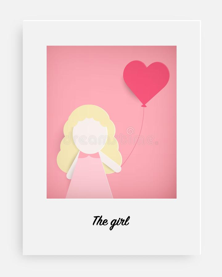 Cute girl hold pink balloon and pink background stock illustration