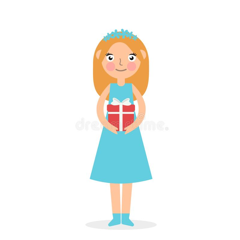 Cute girl holding big ribbon bow wrapped gift box in front of her in arms. Flat style vector illustration isolated on royalty free illustration