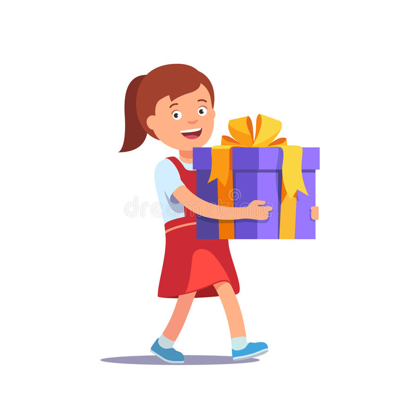 Cute girl holding big ribbon bow wrapped gift box vector illustration