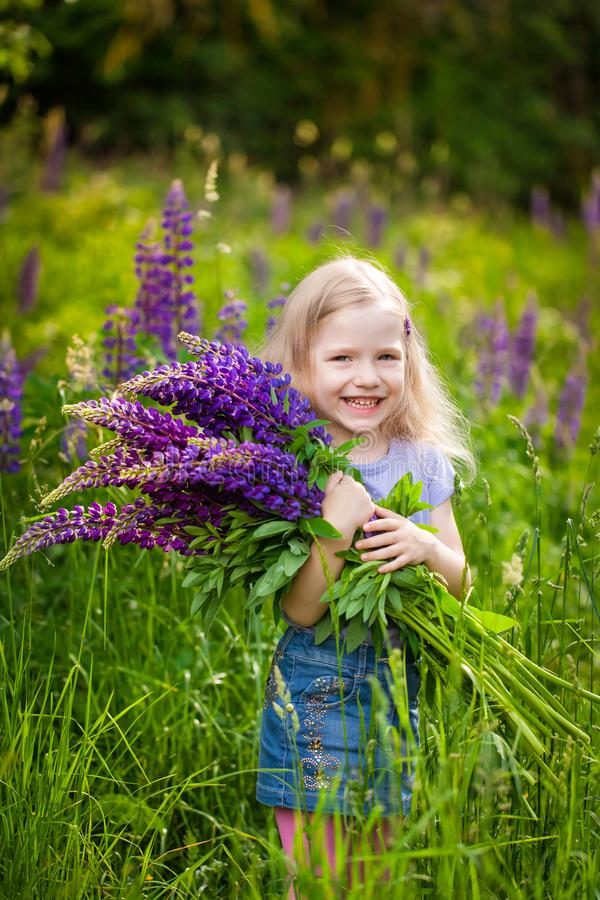 Cute girl with a bouquet of purple lupine flowers royalty free stock photography