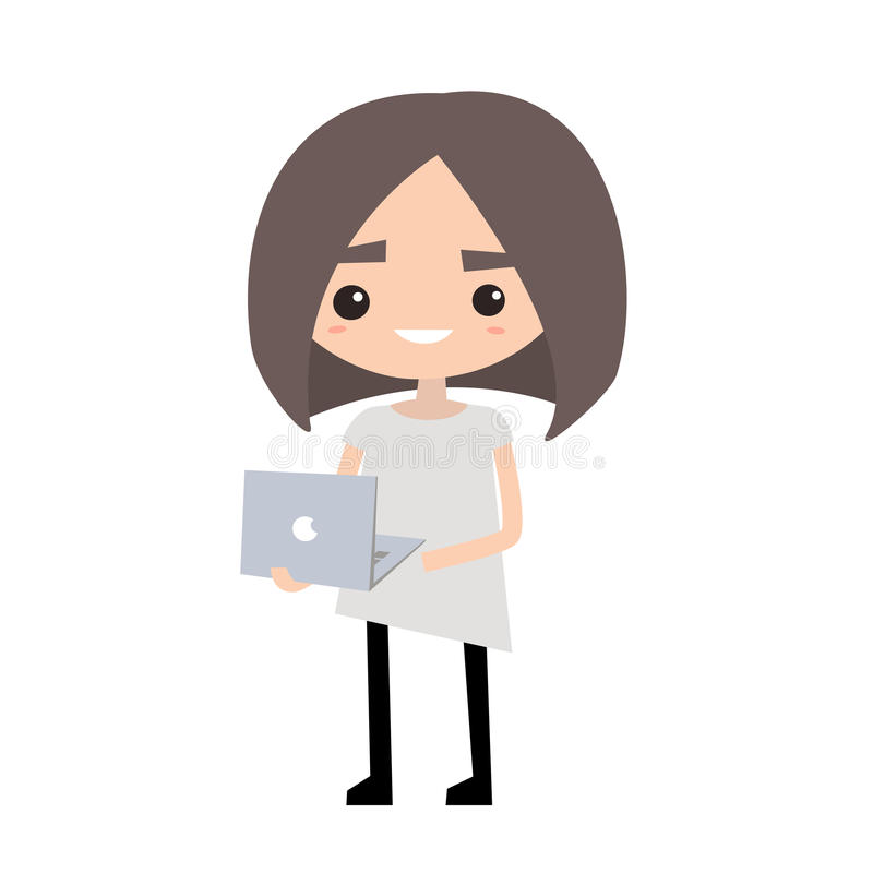 Cute girl holding a laptop, flat illustration, c. Flat illustration, clip art vector illustration
