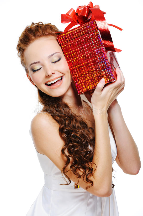 Download Cute girl holding present stock photo. Image of happy - 11736110
