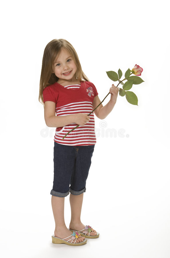 Cute Girl Holding Rose royalty free stock photo