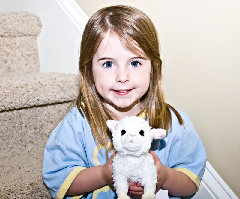 Cute Girl Holding Stuffed Animal royalty free stock photo