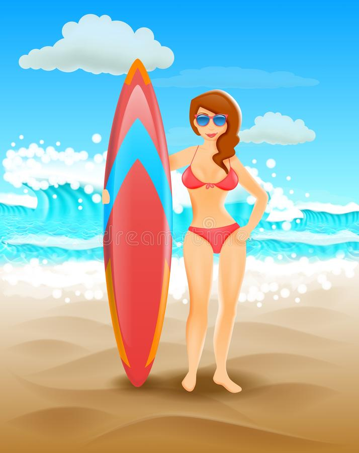 Cute girl holding a surfboard on a sunny beach. Vector illustration. Seaside vacation and surfing. stock illustration