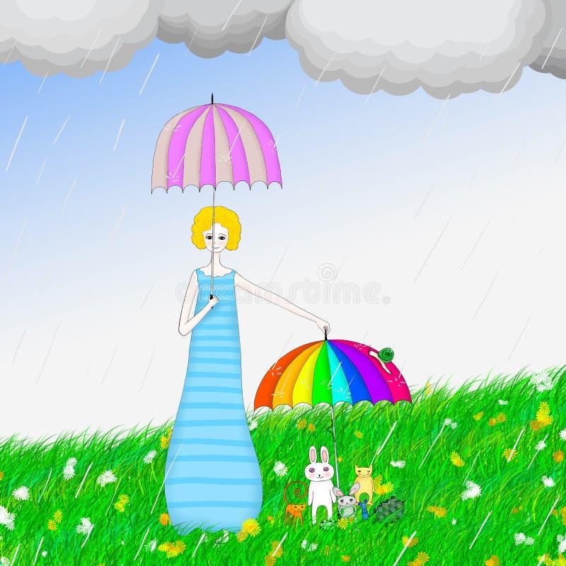 Cute girl holding umbrella in the rain illustration. Illustration of a cute girl holding umbrella for animals in the rain vector illustration