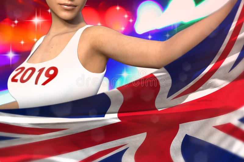 woman holds United Kingdom UK flag in front on the party lights - Christmas and 2019 New Year flag concept 3d illustration stock illustration