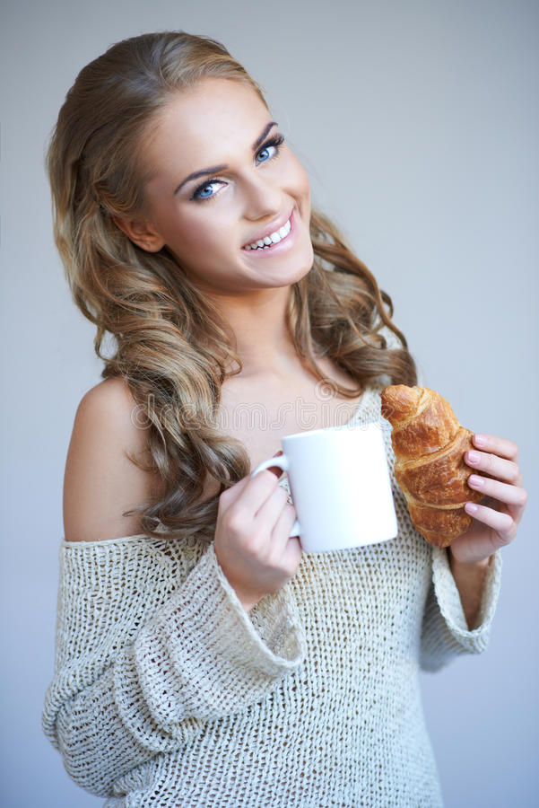 Download Cute Girl Holding White Cup Stock Photo - Image: 27250162