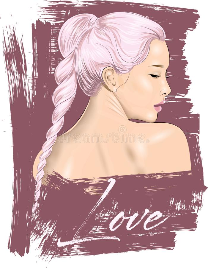 Cute girl illustration. Perfect for home decor such as posters, wall art, tote bag, t-shirt print, post card. royalty free illustration