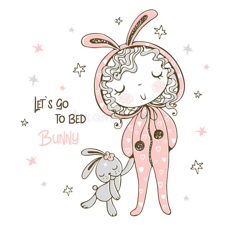 Free Cute Girl In Pajamas In The Form Of A Bunny Is Going To Sleep With A Toy. It`s Time To Sleep. Vector Royalty Free Stock Image - 164558756