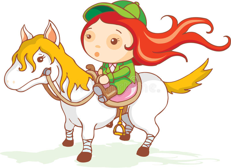 Download Cute girl jockey stock illustration. Illustration of pony - 28523077
