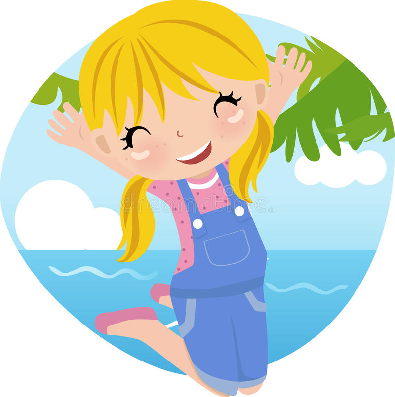Download Cute girl jumping stock vector. Image of child, active - 10002947
