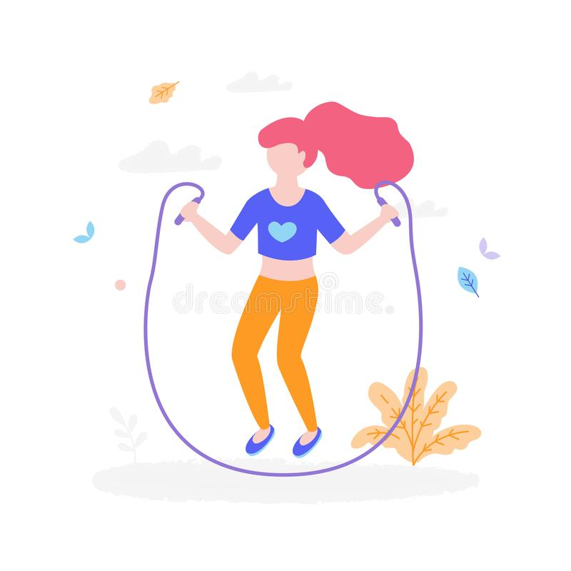 Cute girl with jumping rope outdoors in the park isolated on white background. Children activity concept, summer flat stock illustration