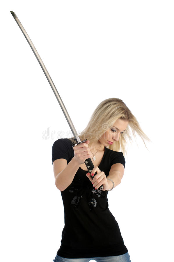 Download Cute girl with katana stock photo. Image of brutal, holding - 12040532