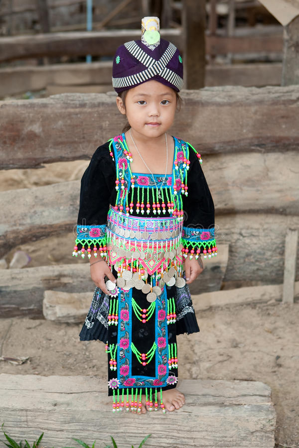 Cute girl from Laos Hmong. In traditional national costume of the ethnic group stock images