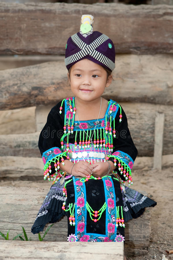 Cute girl from Laos Hmong. In traditional national costume of the ethnic group stock photo