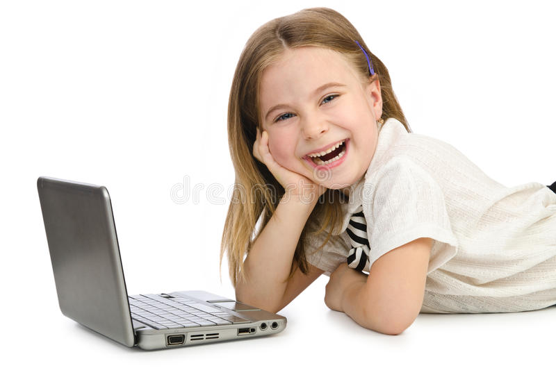 Cute Girl With Laptop Royalty Free Stock Image