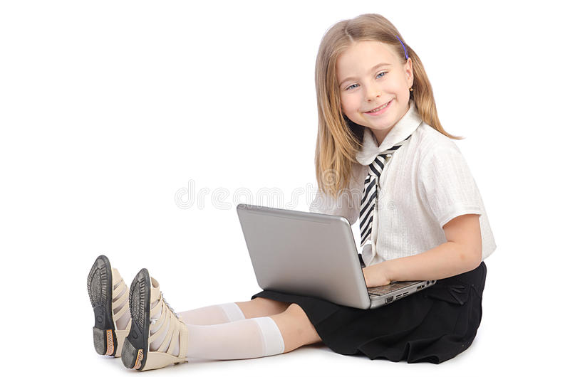 Download Cute girl with laptop stock image. Image of isolated - 26272227