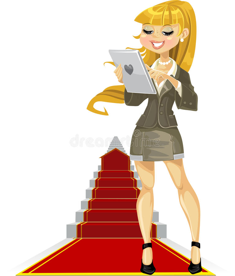 Cute girl with laptop on success ladder royalty free stock photos