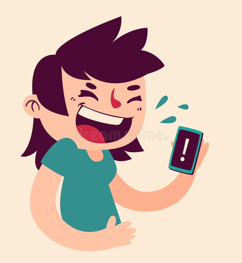 Cute Girl Laughing at the Phone vector illustration