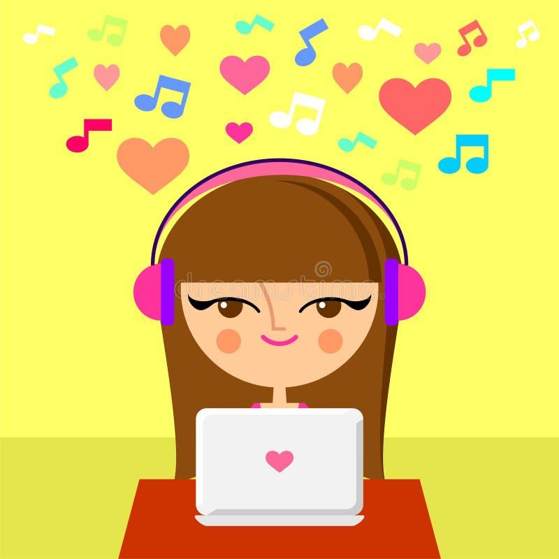 Download Cute Girl Listening To Music Stock Illustration - Illustration: 27215863