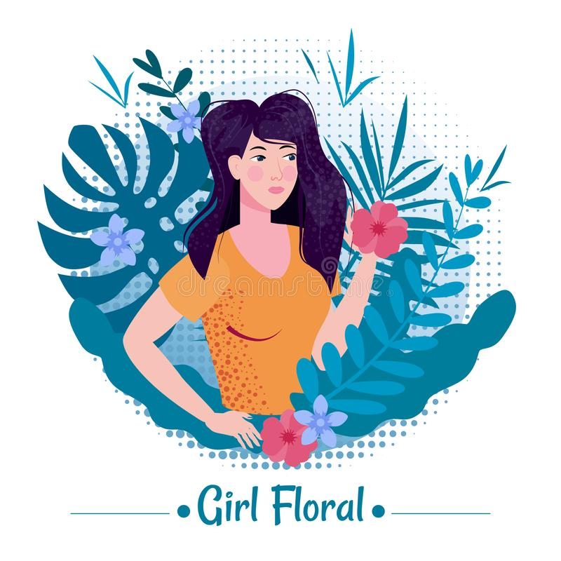 Cute girl beauty with long romantic hair among the leaves and flowers of exotic plants summer in a T-shirt. Illustration vector illustration
