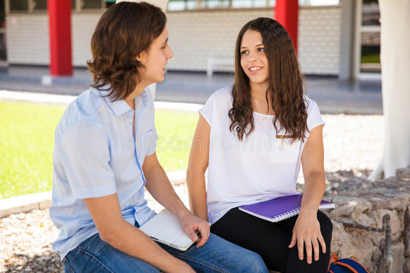 Cute girl in love at school royalty free stock images