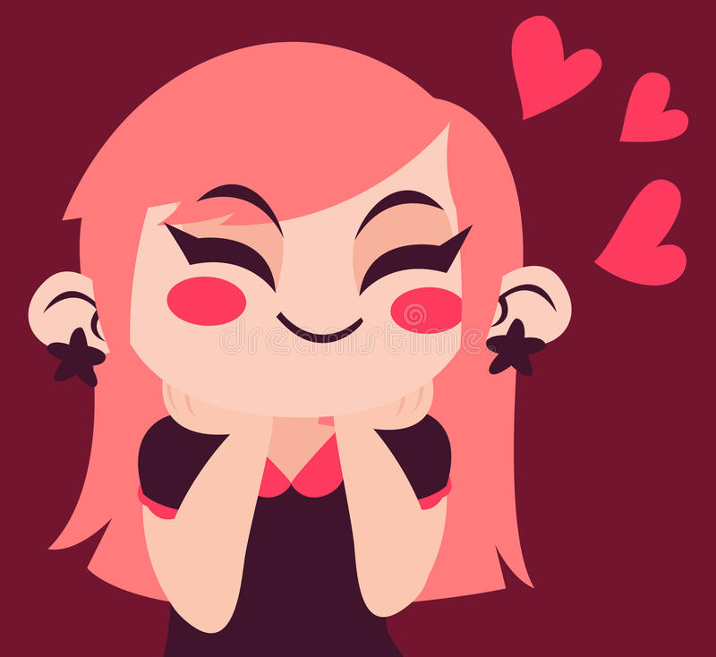Cute Girl in Love royalty free illustration