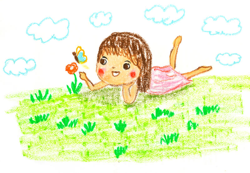 Cute girl lying on green grass , oil pastel drawing illustration royalty free illustration