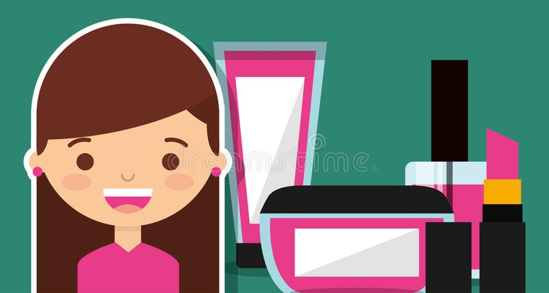 Cute girl with make up cosmetic set stock illustration