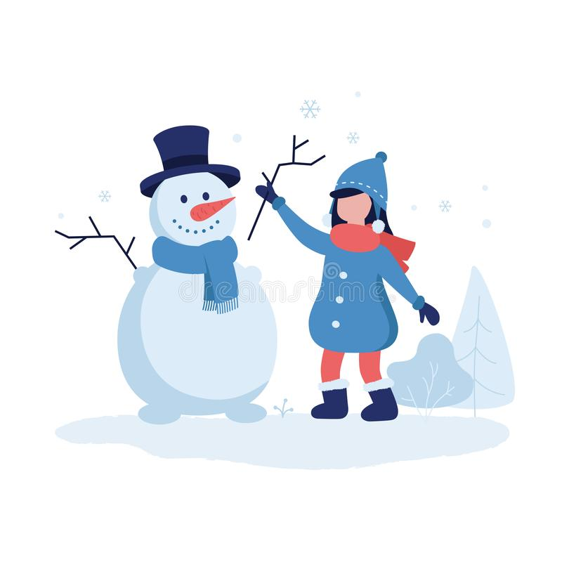 Cute girl making a snowman vector illustration in flat design. Winter background with trees, bushes and flying stock illustration