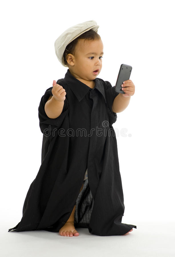Cute girl with mobile phone royalty free stock photography