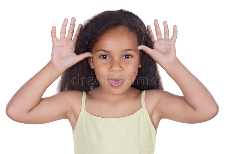 Cute girl mocking royalty free stock images