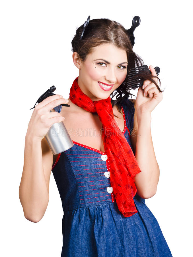 Download Cute Girl Model Styling A Hairdo. Pinup Your Hair Stock Image - Image of head, beautiful: 33000069