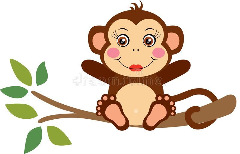 Cute Baby Monkey Sitting On A Tree Stock Vector ...