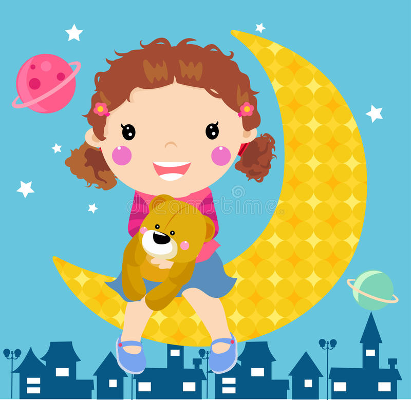Cute girl and moon stock illustration