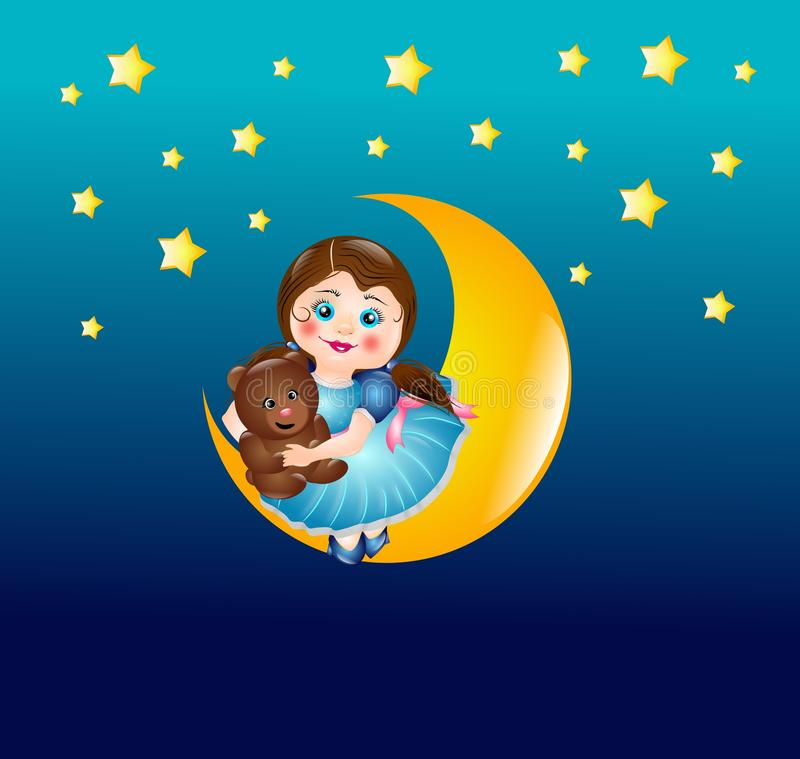 Download Cute girl on moon stock illustration. Image of dress - 41958805