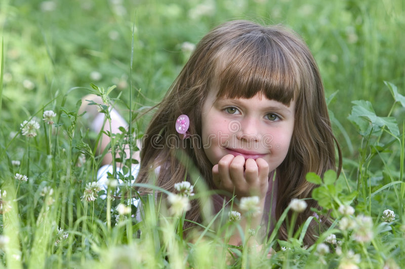 CUTE GIRL IN NATURE stock photo