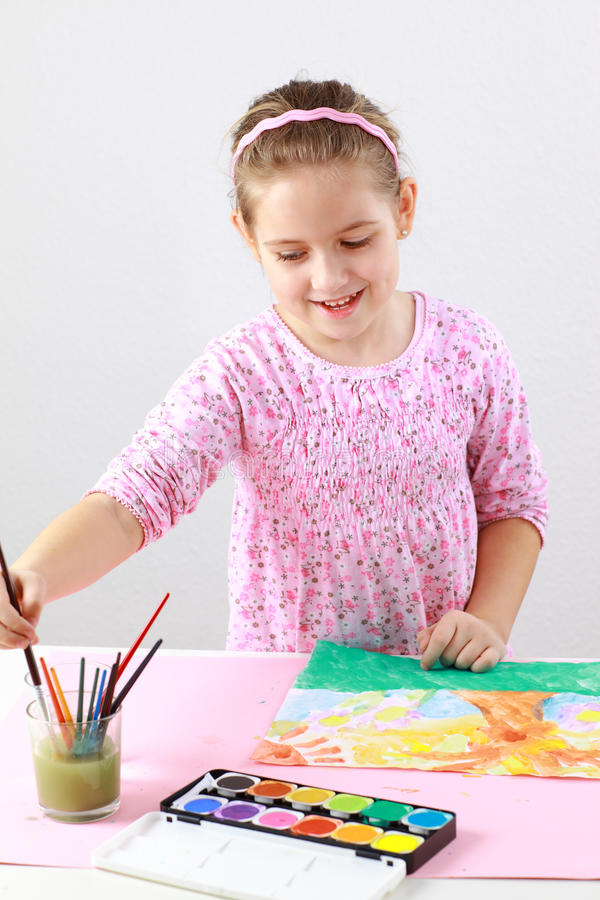 Download Cute Girl Painting With Watercolor Stock Photography - Image: 23713862