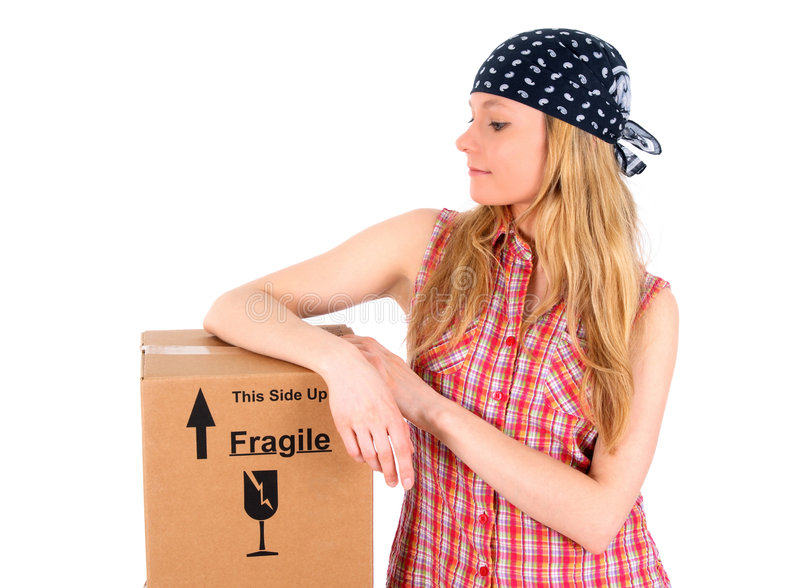 Cute girl with a parcel royalty free stock image