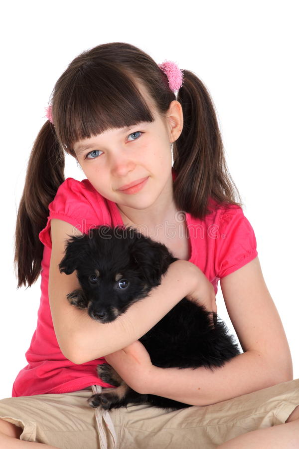 Download Cute girl with pet dog stock photo. Image of seated, isolated - 24367968