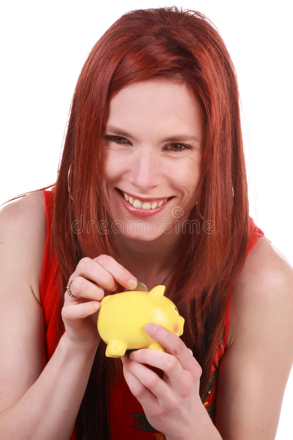 Download Cute girl and piggy bank stock photo. Image of economy - 14859558