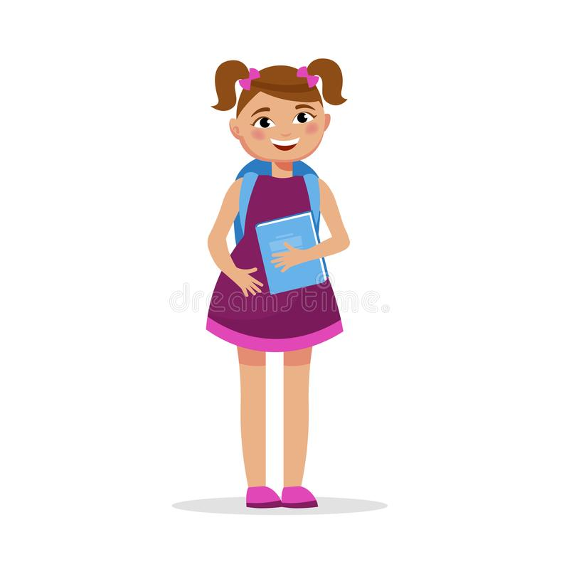 Cute girl with pigtails in dress with a book and backpack isolated on white background. Cheerful student girl in flat stock illustration