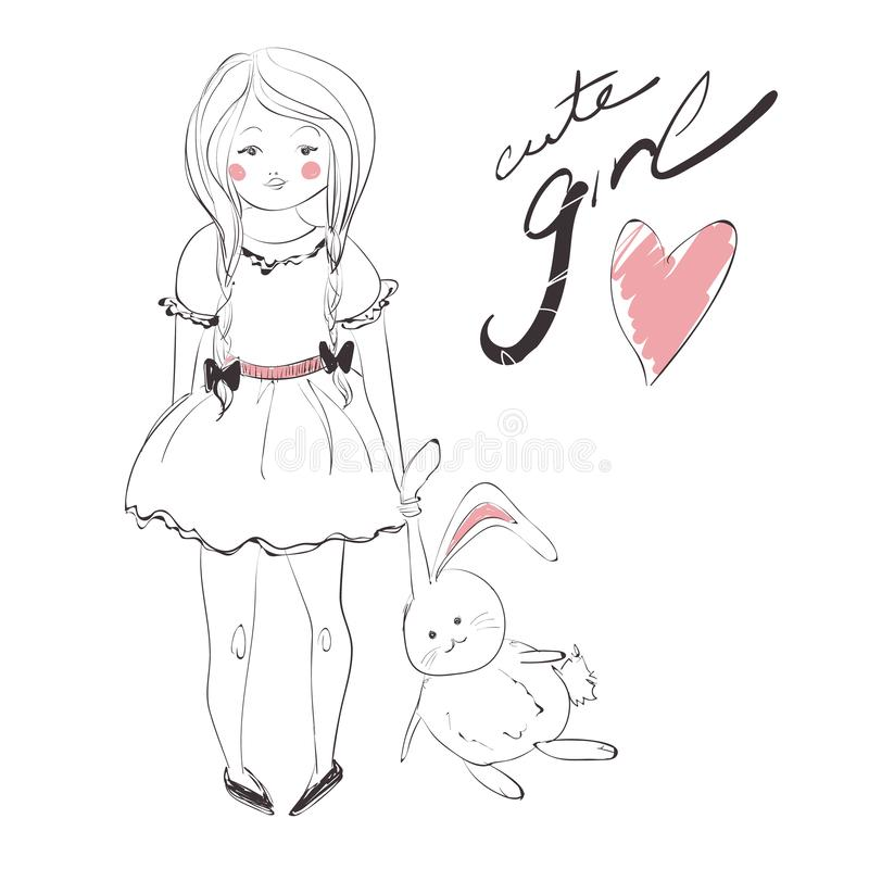 Cute girl with pigtails wearing a dress and rabbit vector illustration royalty free illustration