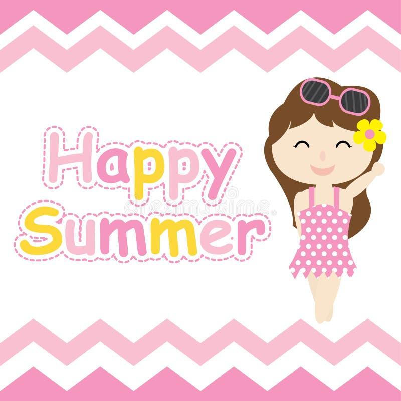 Cute Girl On Pink Chevron Frame Cartoon Summer Postcard Wallpaper And Greeting Card T Shirt Design For Kids