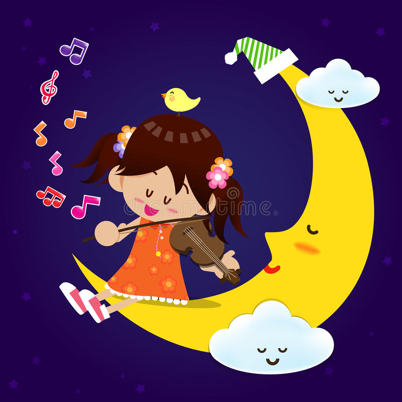 Cute Girl play music with moon at night royalty free illustration