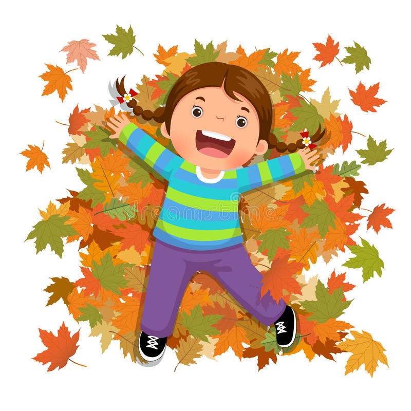 Cute girl playing with falling leaves stock illustration