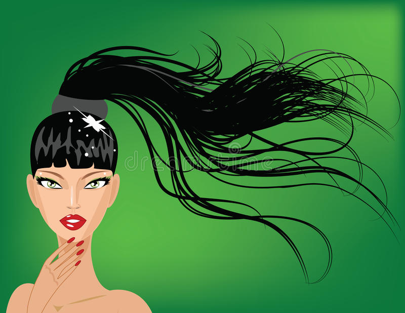 Download Cute girl with ponytail stock vector. Image of brunette - 23734473